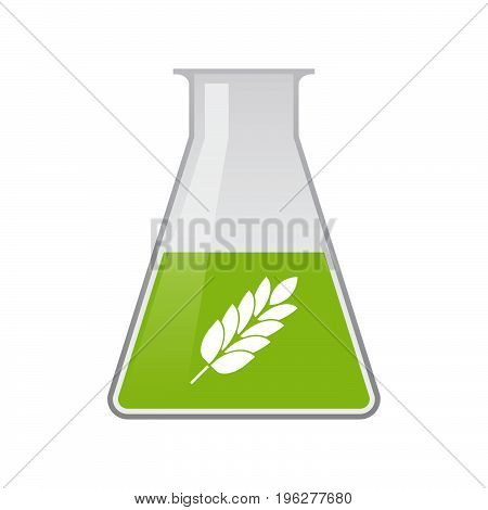 Isolated Chemical Flask With  A Wheat Plant Icon