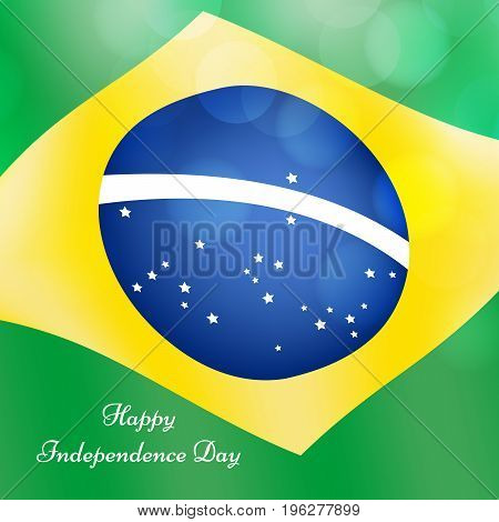 illustration of Brazil flag background with Happy Independence Day text on the occasion of Brazil Independence Day