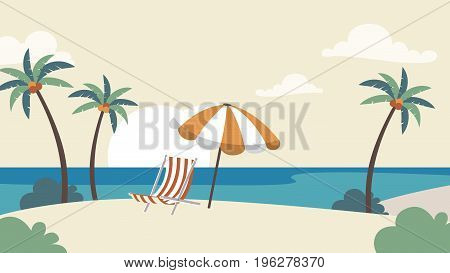 Holiday Vacation Background. Seaside With Palm Trees Vector Template For Advertise, Travel Agency, B