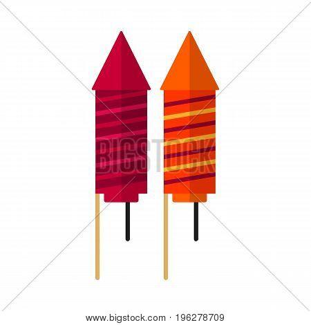 Petard rocket flat icon, vector sign, colorful pictogram isolated on white. Fireworks symbol, logo illustration. Flat style design