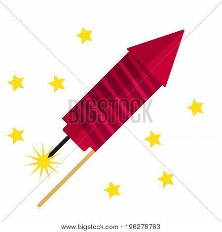 Fireworks flat icon, vector sign, colorful pictogram isolated on white. Petard rocket symbol, logo illustration. Flat style design