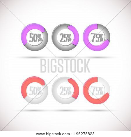 Round percentage diagrams with colorful arrows isolated on white background with shadows flat vector illustration