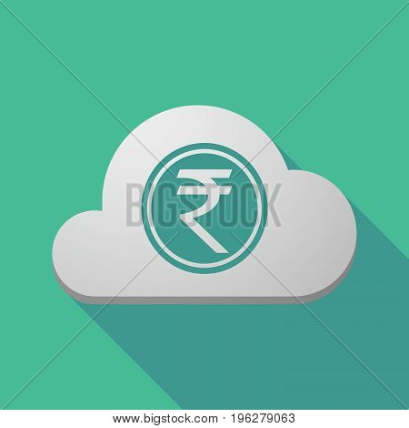 Long Shadow Cloud With  A Rupee Coin Icon