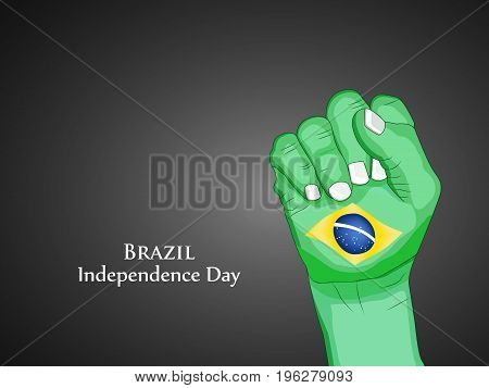 illustration of hand in Brazil flag background with Brazil Independence Day text on the occasion of Brazil Independence Day