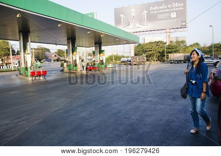 Thai People Driving Car To Fill Diesel Oil At Petrol Station