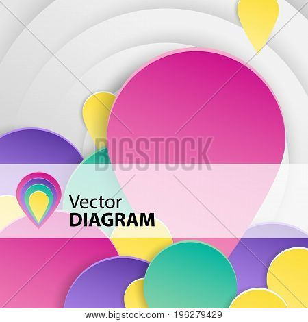 Flat bright background with many round diagrams of different colors vector illustration