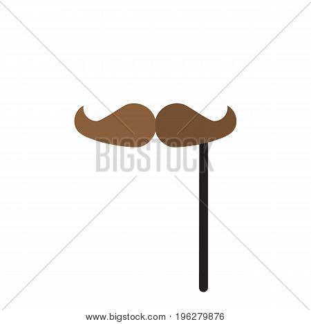 Fake mustache on stick flat icon, vector sign, colorful pictogram isolated on white. Mustache Party symbol, logo illustration. Flat style design