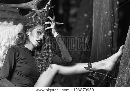 Beauty And Fashion, Woman In Big Wooden Arm Chair