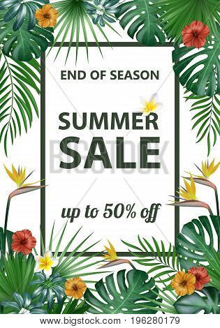 Sale banner, poster with exotic leaves, jungle leaf. Vector floral tropical summer background. Vertical format.