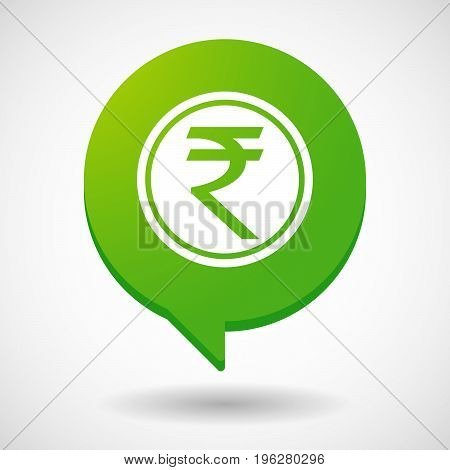 Isolated Comic Balloon With  A Rupee Coin Icon