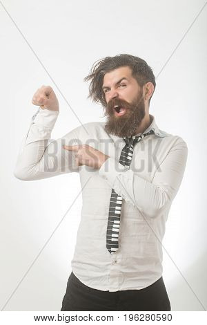 Man With Long Beard And Mustache On Angry Face