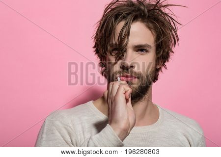 Handsome Young Man Brushing His Teeth