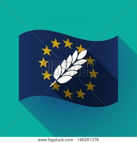 Long Shadow Eu Flag With  A Wheat Plant Icon