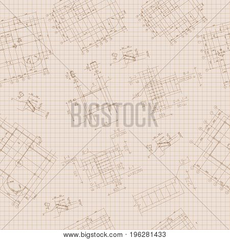 Architectural seamless pattern with black sketches on squared sheet of paper hand drawn vector illustration