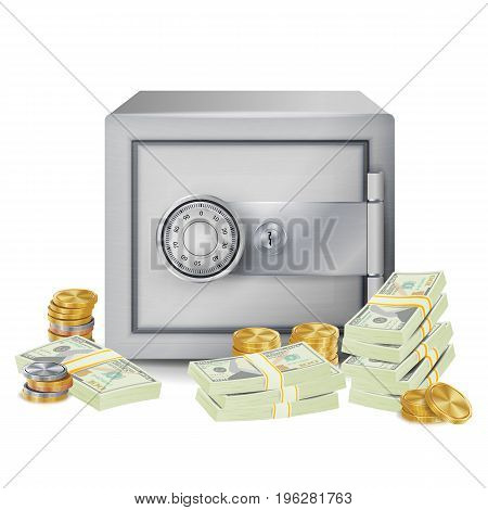 Safe And Money Stacks Vector. Safe, Coins And Dollar Banknotes Stacks Isolated Illustration. Finance Banking Concept
