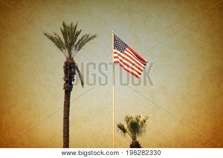 USA flag with palm trees vintage grunge image