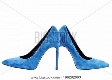 Pair Of Blue Suede High Heel Shoes, Closeup