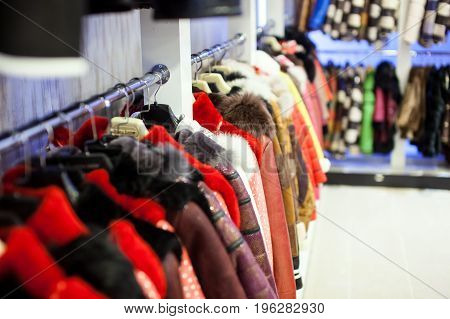 Luxury shop with fur and leather coats