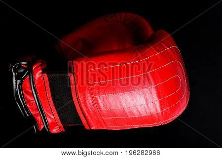 Duet Of Gloves For Boxing Made Of Red Leather