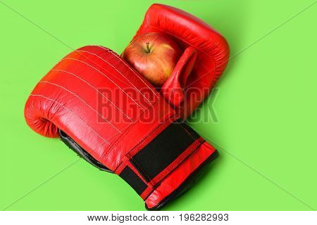 Pair Of Leather Boxing Sportswear With Juicy Red Apple