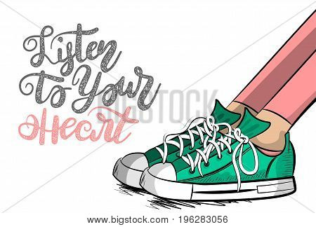 Pop art woman sneakers shoelace stay thinking listen to heart. Philosophy love lettering comic text phrase. Cartoon colored sketch vector illustration. Funny young girl fashion foot casual style.