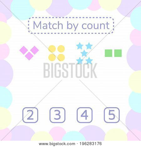 vector illustration. counting game for preschool children. mathematical game. count the items in the picture and choose the right answer. rebus for children. rhombus, star, square, circle.