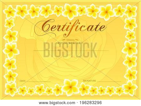 Certificate, Diploma of completion (Rose design template, flower background) with floral, pattern, border, frame. Coupon of achievement, School awards, pink female winner certificate