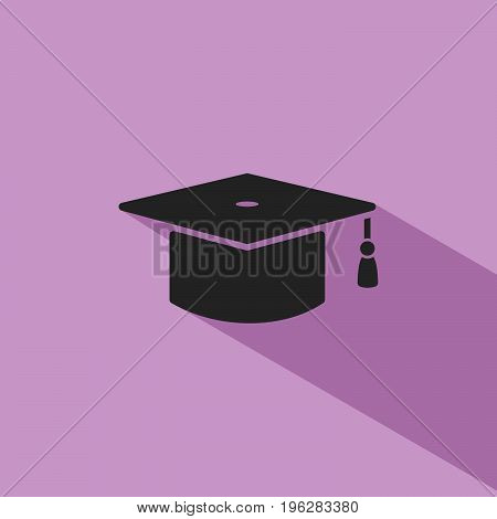 Mortarboard icon with shade on purple background
