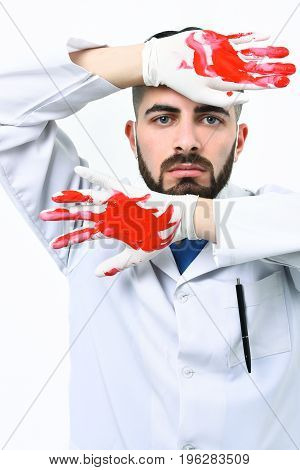 Surgeon With Hands In Blood. Surgery And Treatment Concept