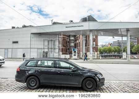 HAMBURG , GERMANY - JULY 14, 2017: This hydrogen fuel station is part of the company H2 Mobility which is an association of the companys Air Liquide, Daimler, Linde, OMV, Shell and Total with the goal to deliver a hydrogene infrastructure