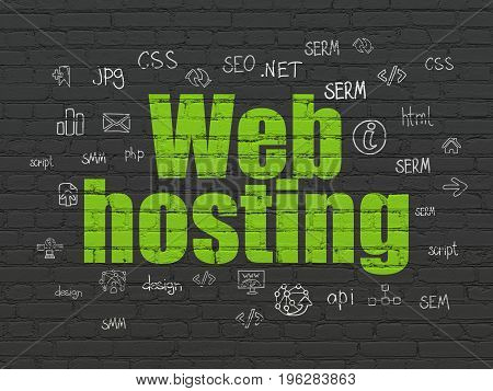 Web design concept: Painted green text Web Hosting on Black Brick wall background with  Hand Drawn Site Development Icons