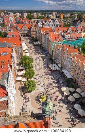 GDANSK, POLAND - JULY 13, 2017: People on the Long Lane of the old town in Gdansk, Poland. Gdansk is the historical capital of Polish Pomerania.