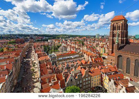 GDANSK, POLAND - JULY 13, 2017: Saint Mary Cathedral in the old town of Gdansk, Poland. Gdansk is the historical capital of Polish Pomerania.