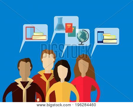 Mens and Women with Speech Bubbles thinking about Education. Flat vector illustration for e-learning and online education.