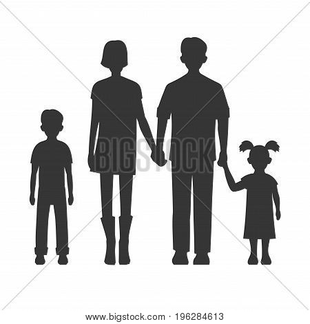 Family Silhouette on White Background. Vector Illustration