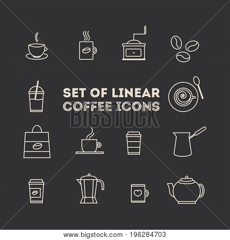 coffee icon set. Line coffee elements isolated on brown background. Vector illustration