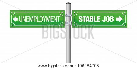UNEMPLOYMENT and STABLE JOB written on a green guidepost - isolated vector illustration on white background.