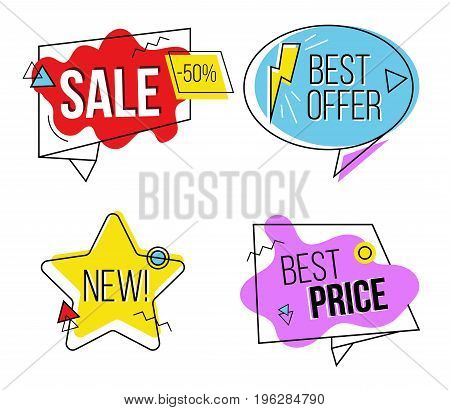 Set of sale labels with modern calligraphy. Vector hand drawn collection of labels and logos. Discount card set of