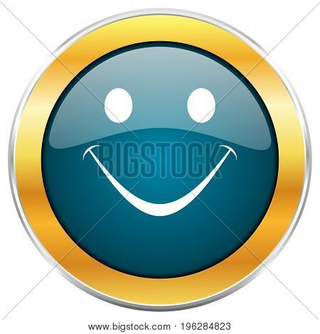 Smile blue glossy round icon with golden chrome metallic border isolated on white background for web and mobile apps designers.