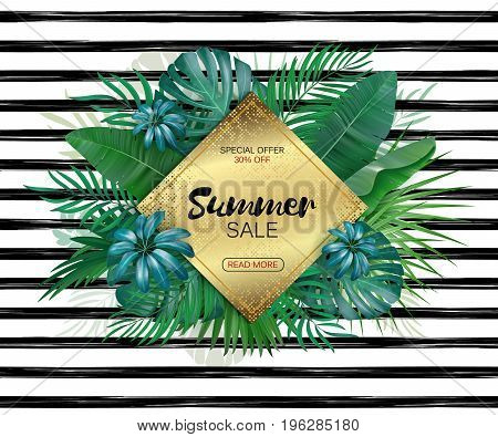 Summer sale background layout for banners, Wallpaper, flyers, invitation, posters, brochure, voucher discount. Vector illustration template. Striped backdrop with exotic leaves.
