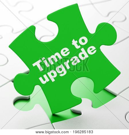 Timeline concept: Time To Upgrade on Green puzzle pieces background, 3D rendering