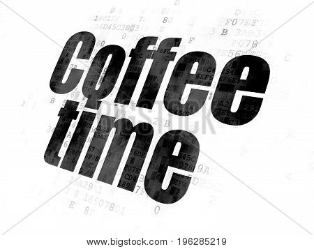 Timeline concept: Pixelated black text Coffee Time on Digital background