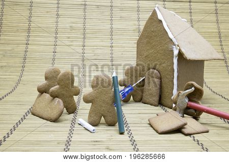 Gingerbread Men Construction Crew At  House