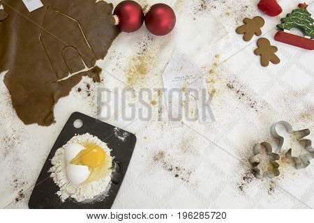 Gingerbread House Still Life Flat Lay