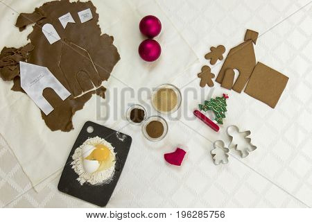 Gingerbread House  Flat Lay Still Life
