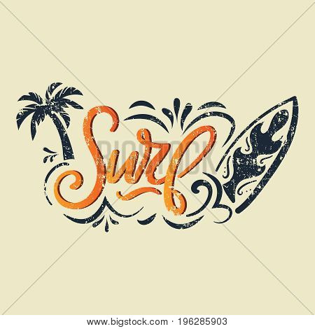 Vector Summer surfing retro badge. Surf calligraphy for t-shirt print, card, poster, banner. Vintage hand lettering emblem with surfing board, flourishes and palm. vector illustration.