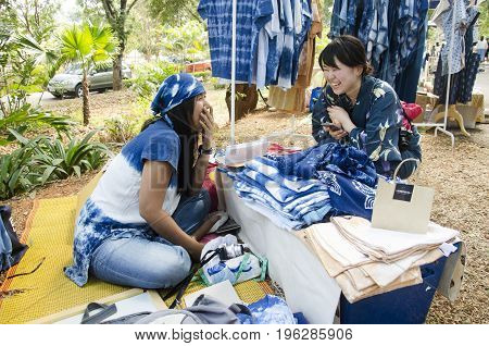 Thai Woman Owner Indigo Clothes Shop Speak With Japanese Woman Customer