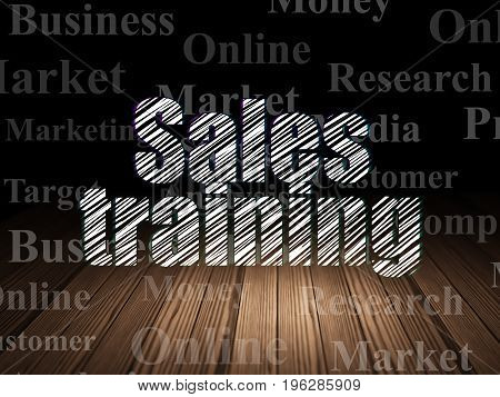 Advertising concept: Glowing text Sales Training in grunge dark room with Wooden Floor, black background with  Tag Cloud