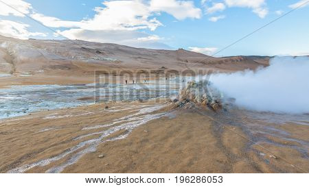 Amazing fumarole field in Namafjall Geothermal Area, Hverir, Iceland