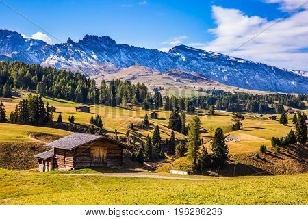The natural landscape of the Alps di Siusi. The  Dolomites - World Natural Heritage. Concept pedestrian and ecotourism